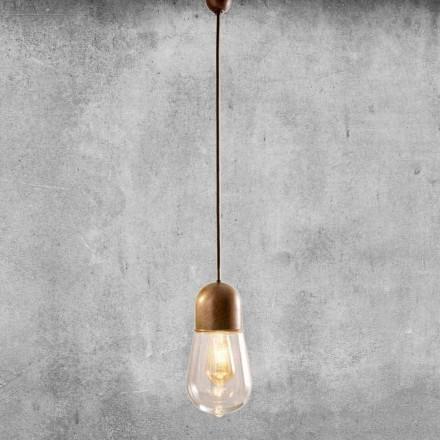 Lampa suspendată cu design vintage în alamă și sticlă - Aldo Bernardi Guinguette