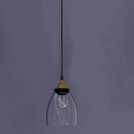 Lampă suspendată de design din metal și sticlă transparentă Made in Italy - Clizia