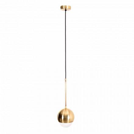 Lampă suspendată manuală din alamă și sticlă decorativă Made in Italy - Gandia