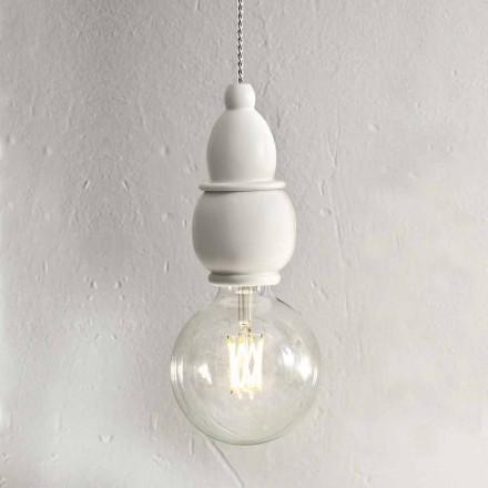 Lampa suspendată din ceramică Shabby Chic cu cablu de 3 m - Soarta Aldo Bernardi