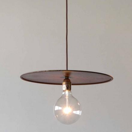 Lampă suspendată din fier cu șnur de bumbac artizanal Made in Italy - Ufo