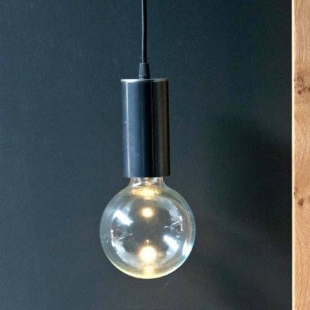 Lampă suspendată din fier și sticlă cu cablu de bumbac Fabricat în Italia - Ampolla