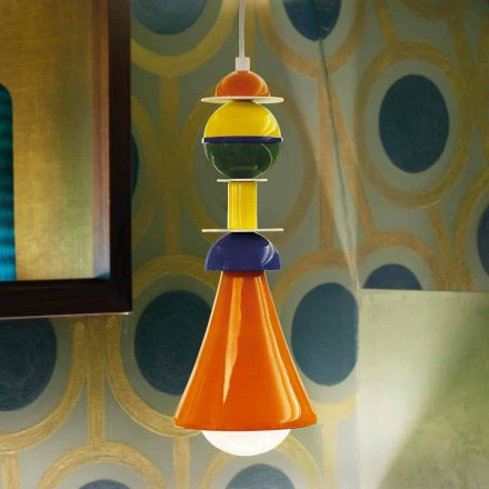 Lămpi suspendate multicolore moderne Slide Otello Hanging, fabricat în Italia