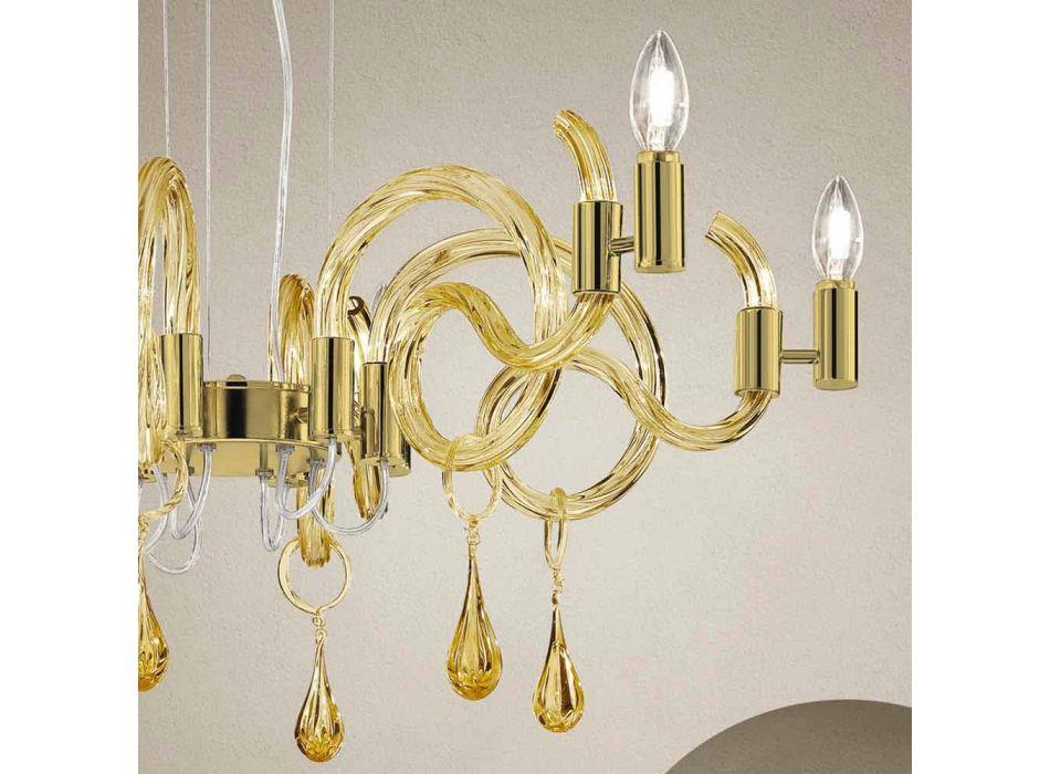 6 candelabre din sticlă de la Veneția, fabricate manual, fabricate în Italia - Bernadette
