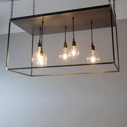 Candelabru manual din fier negru cu lanț lustruit Fabricat în Italia - Cosma
