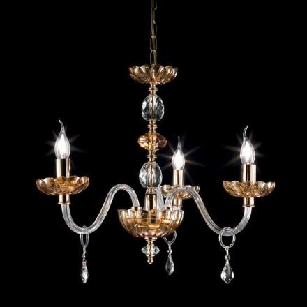 candelabru clasic în cristal și sticlă 3 lumini Belle, realizate în Italia