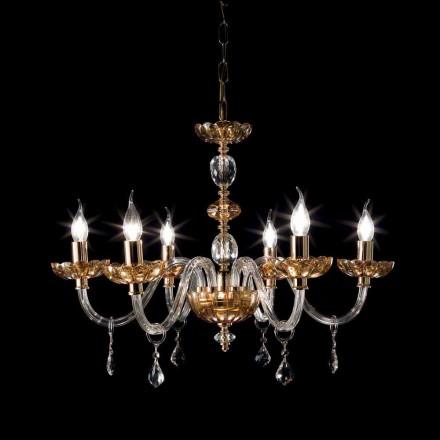 Candelabru design clasic, cu lumini 6 din sticlă și din sticlă fină