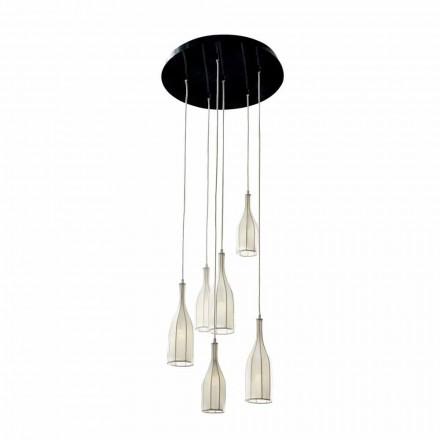Design candelabru cu 6 abajururi Grilli Mathusalem realizat în Italia