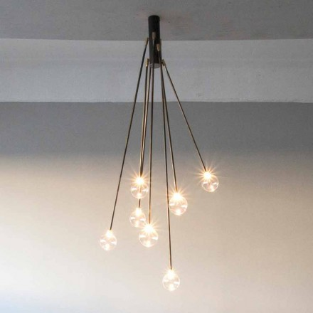 Candelabru manual din fier, cu 7 lumini, fabricat în Italia - Ombro