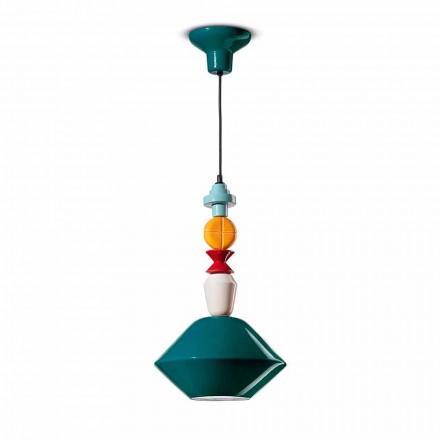 Lampa suspendată din ceramică verde sau galbenă fabricată în Italia - Ferroluce Lariat