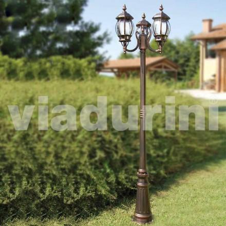 Stâlp de exterior cu două lămpi din aluminiu, fabricat în Italia, Anika
