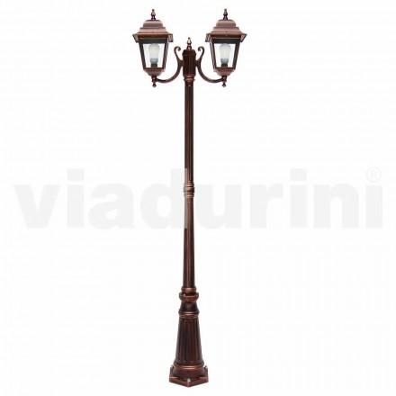 Lampa de exterior cu două lămpi din aluminiu, făcută în Italia, Aquilina