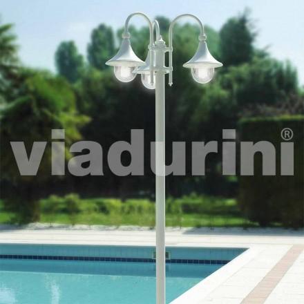 Lampa exterioară cu trei lumini din aluminiu alb, făcută din Italia, Anusca