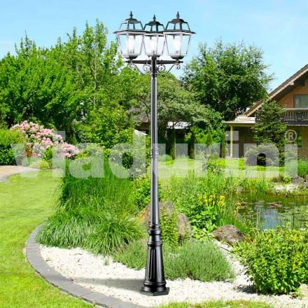 Lămpă clasică de trei lămpi de grădină realizată din aluminiu, Kristel