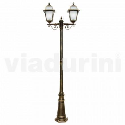Stâlp de iluminat exterior cu două lumini, fabricat din aluminiu, fabricat în Italia, Kristel