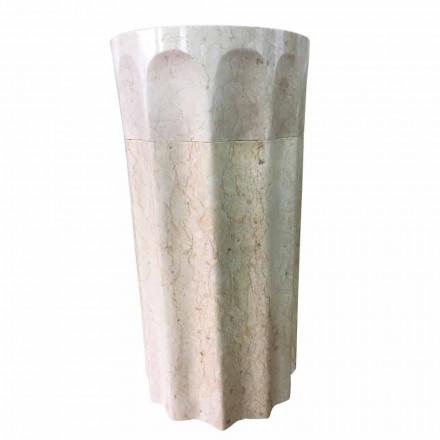 Daisy chiuvetă coloană din piatră naturală albă, piesă unică