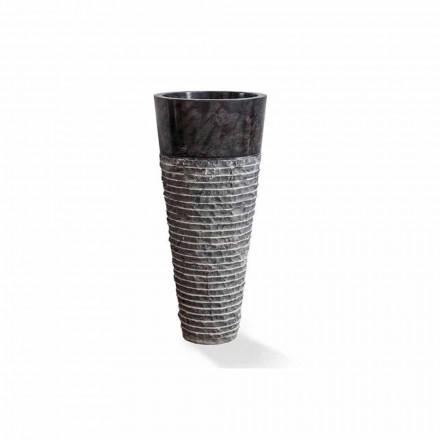Lavoar coloană de design modern în marmură neagră lucioasă - Merlo