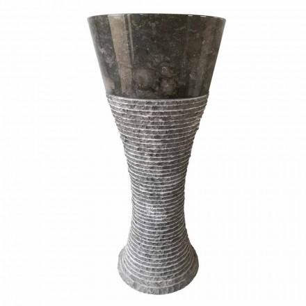Piedestal chiuvetă din piatră naturală gri închis Fara, piesă unică