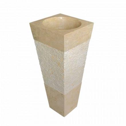 chiuvetă coloană piramidă din piatră naturală Nias bej