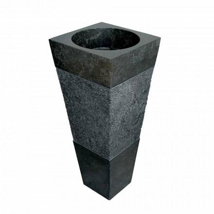 chiuvetă coloană piramidă din piatră naturală neagră Nias