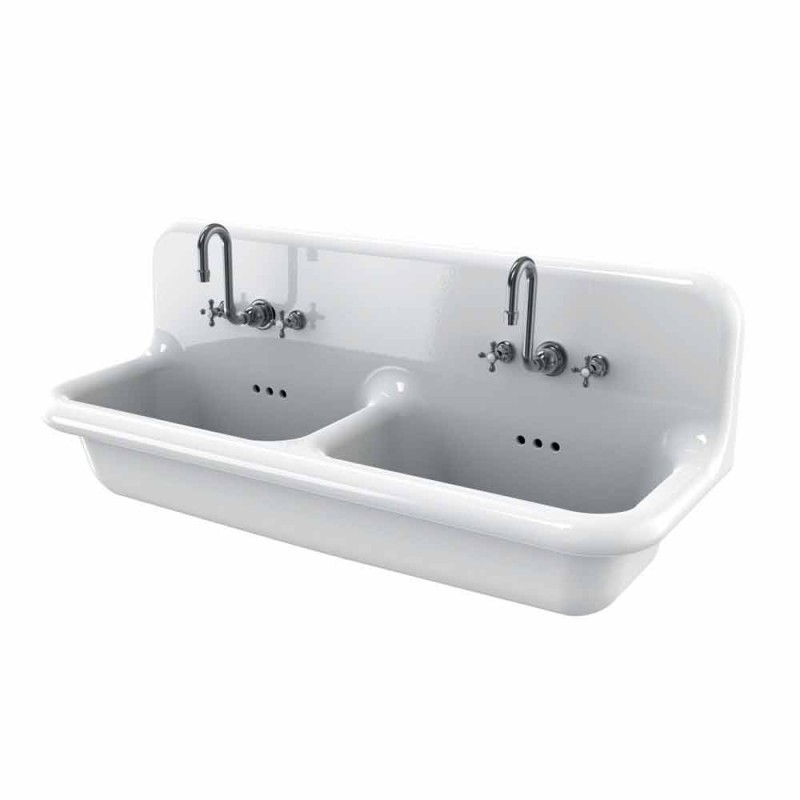 Lavoar dublu perete bazin în alb modern, Andy ceramice