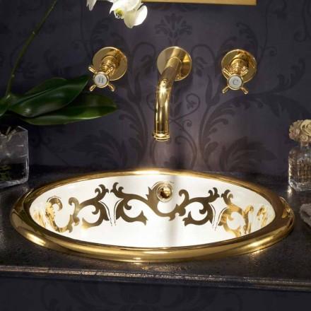 Built-in chiuveta decorate în argila de incendiu și 24k aur făcut în Italia, Otis
