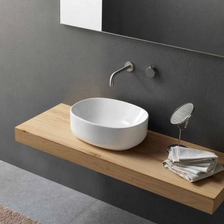 Chiuvetă ovală de blat de design modern în ceramică albă - Ventori2