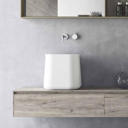 Lavoar pătrat de design modern în rășină albă - Tulyp