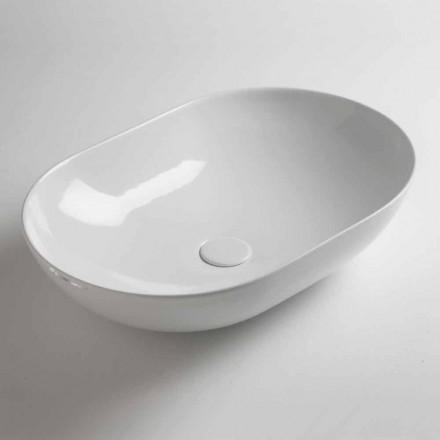 Lavoar cu blat oval în ceramică colorată fabricată în Italia - lanț