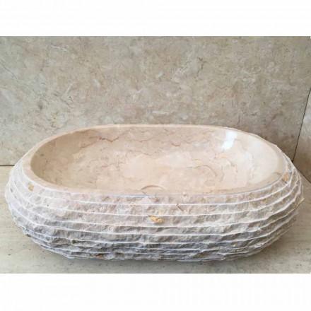 Cora chiuvetă oval albă, o bucată unică realizată manual