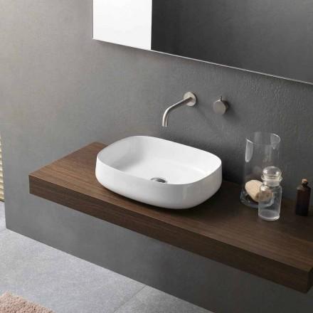 Chiuvetă din ceramică albă, de design modern, fabricată în Italia - Tune2
