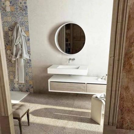 Top cu chiuvetă centrală integrată pentru baie Gemona, fabricată în Italia