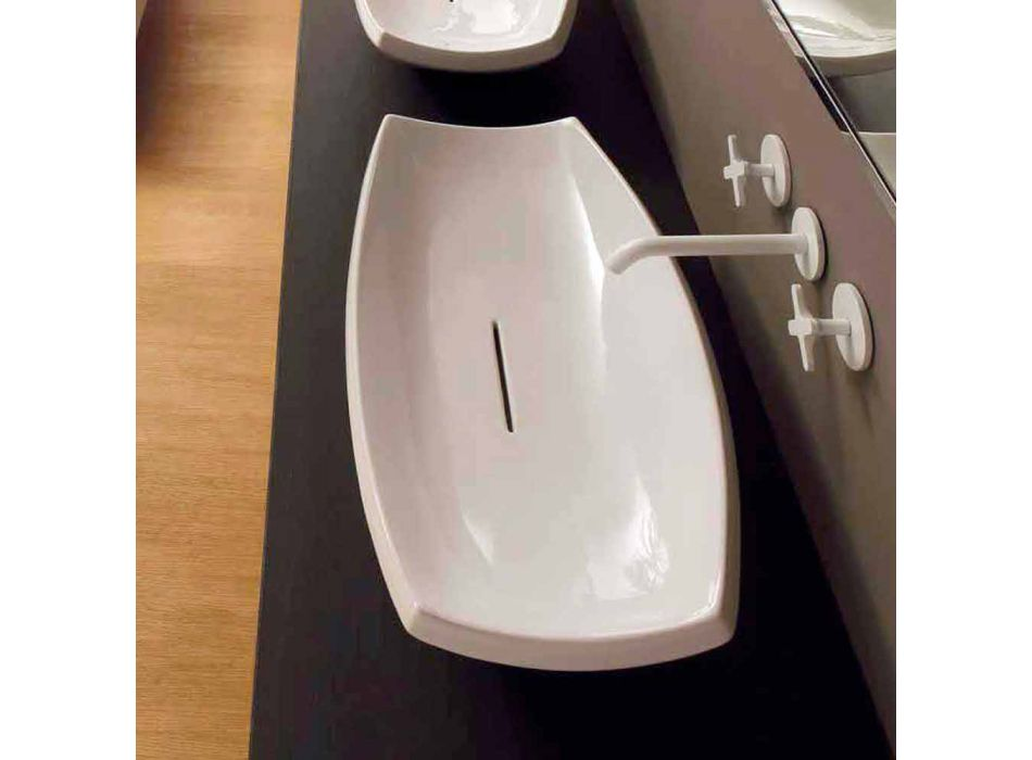 Albă chiuvetă ceramică cu design modern făcută în Italia Laura