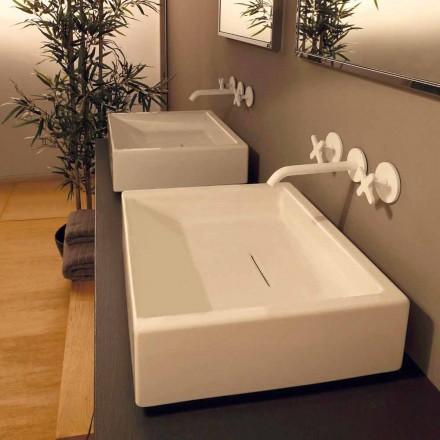 Design chiuveta ceramica dreptunghiulara realizata in Italia Dalia
