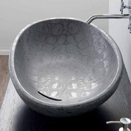 Canapea din ceramica tiparita din cocos gri realizata in Italia Glossy