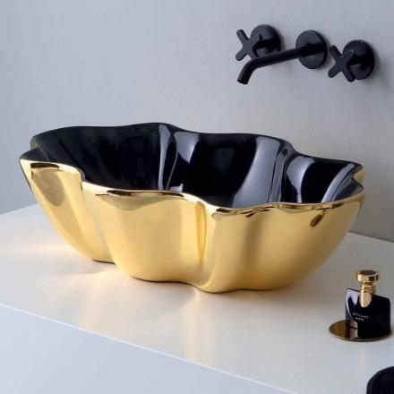 Blat de blat modern din aur și negru din ceramică fabricat în Italia Cube