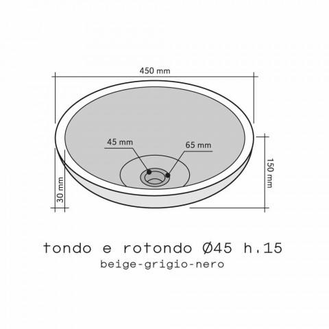 Chiuveta Sprijinirea Rotondo Piatra-Natural Exterior negru Pai Raw