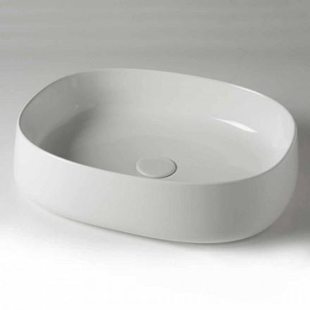 Lavoar cu blat oval L 50 cm în ceramică Made in Italy - Cordino