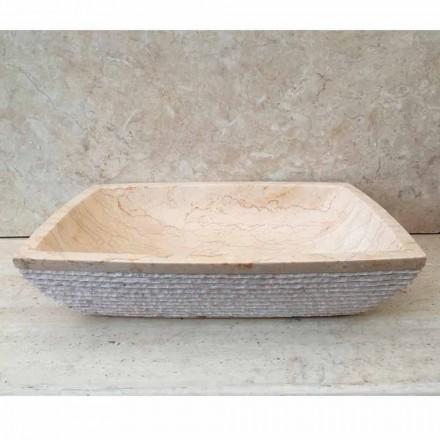 Blat de design pentru baia de baie Aripă albă, bucată unică, în piatră