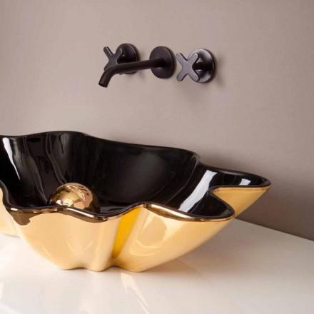 Designer chiuvetă ceramică negru și aur făcut în Italia Rayan