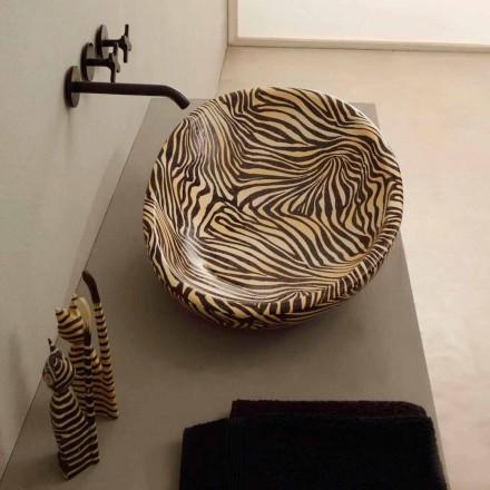 Design chiuvetă ceramică cu zebră portocalie făcută în Italia Glossy