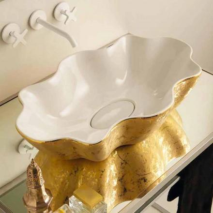 Blat de design din blat si ceramica din aur realizat in Italia Cubo