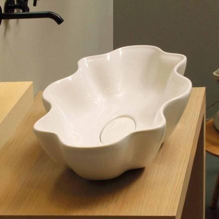 Design modern, chiuvetă din ceramică albă făcută în Italia Cubo