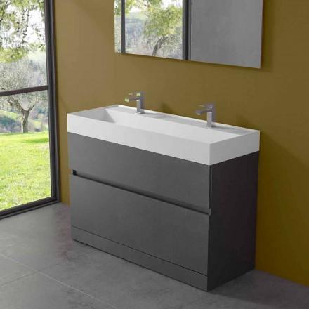 Chiuvetă dublă cu dulap de podea Design modern în laminat - Pompei