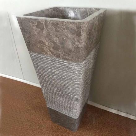 Design chiuvetă coloană gri în piatră naturală Taffy, piesă unică