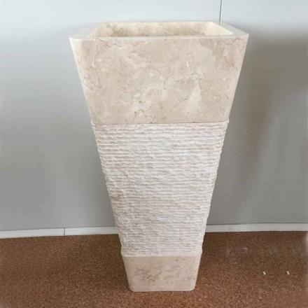 Chiuveta din piatră naturală cu coloană Robin, o singură bucată albă
