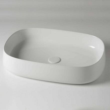 Lavoar cu blat oval L 60 cm în ceramică modernă fabricată în Italia - Cordino