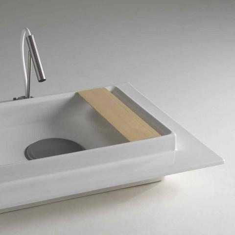 Lavoar dreptunghiular integral bază metalică ceramic Fred