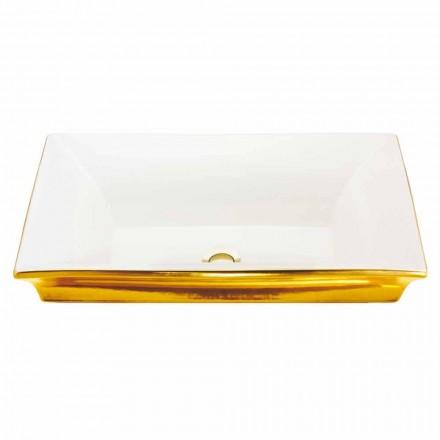 Chiuveta modernă semi-încastrată în lut de foc și aur de 24 de carate, Guido