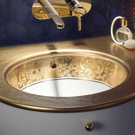 Undertop chiuveta în lut de foc și aur de 24 de carate realizat manual în Italia, Egeo